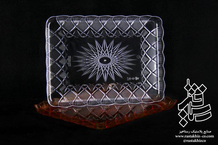 سینی کریستال مستطیل سری الماس در 2 سایز
